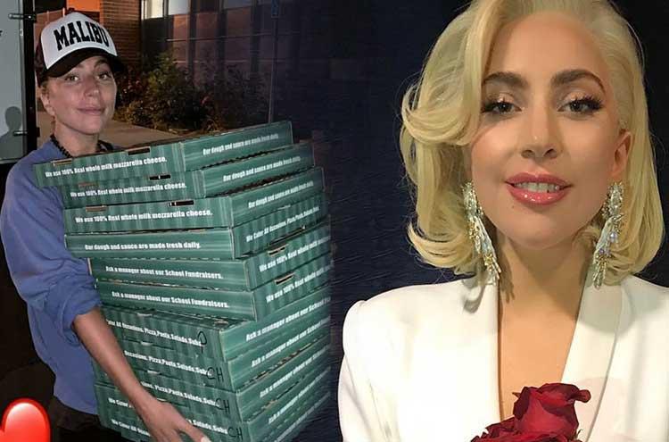 Lady Gaga แปลงกายเป็นคนส่งพิซซ่าให้กำลังใจให้ผู้ประสบภัยไฟป่าแคลิฟอร์เนีย